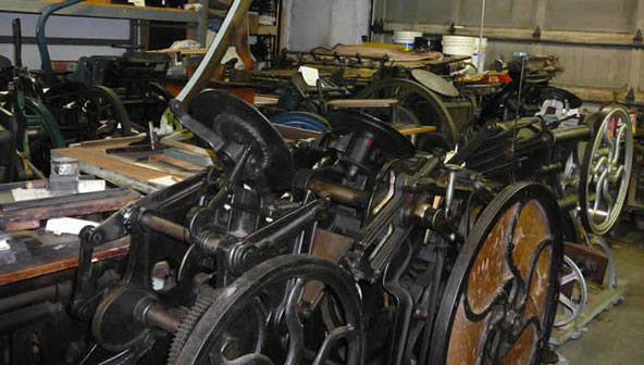A small subset of Paul Aken's vast collection of printing presses.