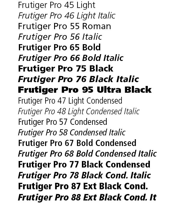 Frutiger is a famous example of an extensive and versatile type family.