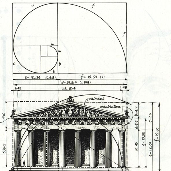 The Parthenon is known to exhibit proportions that approximate the Golden Ratio.