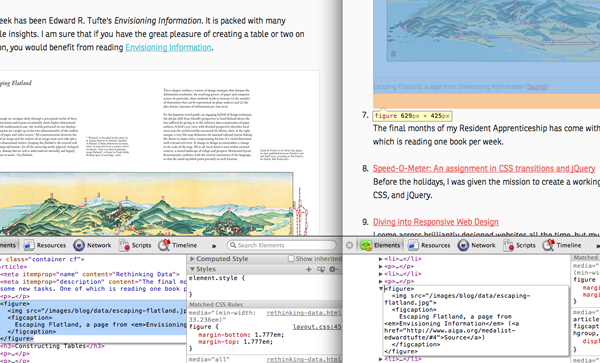 Comparing current design and web inspector design.